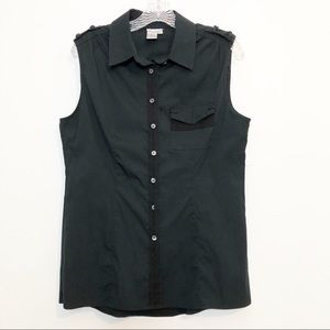 Worth Sleeveless Button Down Top Black Size 10